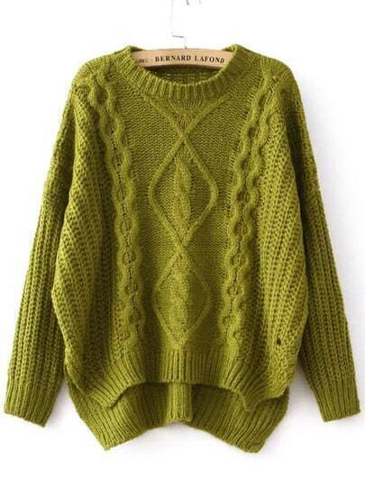 Green Diamond Patterned Dipped Hem Knit Sweater