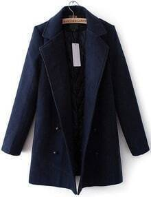 Navy Lapel Double Breasted Woolen Coat