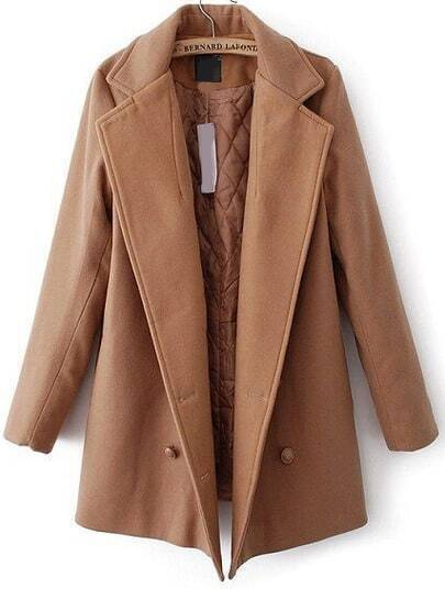 Khaki Lapel Double Breasted Woolen Coat