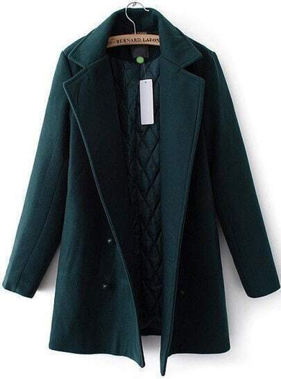 Green Lapel Double Breasted Woolen Coat
