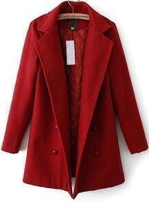 Wine Red Lapel Double Breasted Woolen Coat