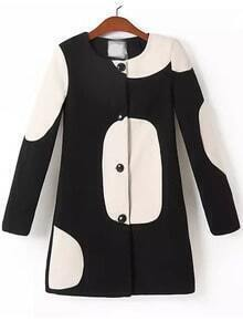 Black Long Sleeve Circle Print Coat