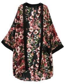 Black Floral Loose Chiffon Kimono