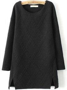 Black Round Neck Long Sleeve Pattern Split Dress