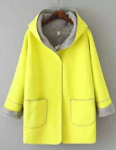 manteau plaid avec capuche manche longue jaune french. Black Bedroom Furniture Sets. Home Design Ideas
