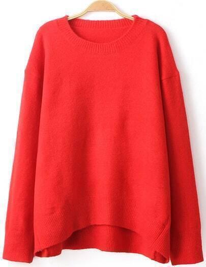 Red Long Sleeve Dipped Hem Sweater