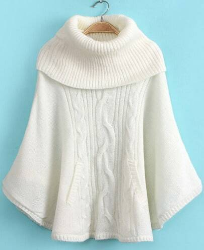 White High Neck Long Sleeve Cable Knit Loose Sweater