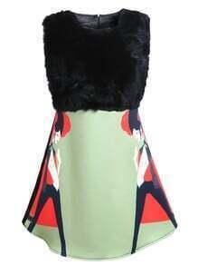 Black Green Sleeveless Faux Fur Print Dress