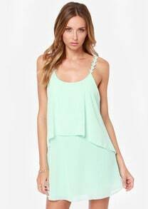 Green Aqua Spaghetti Strap Backless Loose Slip Dress