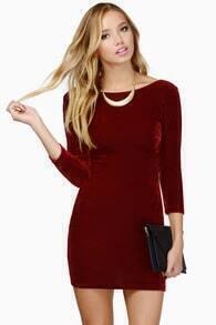Red Slim Backless Zipper Bodycon Dress