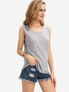 Grey Sleeveless Backless Slim Tank Top