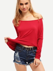 Wine Red Long Sleeve Batwing Loose T-Shirt