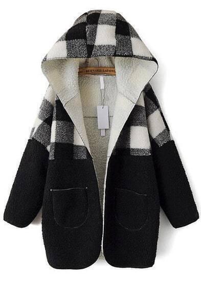 Black Hooded Plaid Pockets Loose Coat