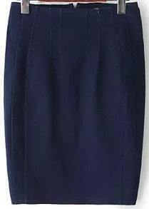 Navy Elastic Denim Bodycon Skirt