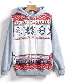 Grey Hooded Long Sleeve Snowflake Print Sweatshirt