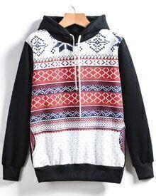 Black Hooded Long Sleeve Snowflake Print Sweatshirt