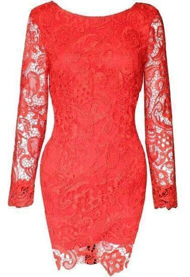 Red Long Sleeve Backless Lace Dress