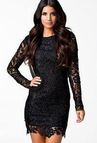 Black Long Sleeve Backless Lace Dress