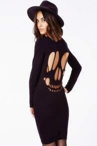 Black Long Sleeve Hollow Bodycon Dress