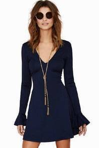 Navy V Neck Long Sleeve Flouncing Dress