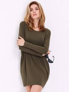 Green Long Sleeve Casual Dress