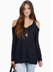 Black Long Sleeve Off The Shoulder Sweater