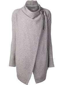 Grey Long Sleeve Cardigan Sweater