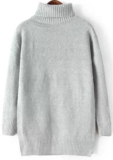 Grey High Neck Split Loose Knit Sweater