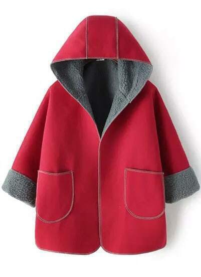 Red Hooded Pockets Loose Coat