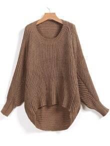 Khaki Long Sleeve Dipped Hem Loose Sweater