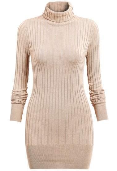 Khaki Long Sleeve High Neck Sweater