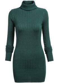Green Long Sleeve High Neck Sweater