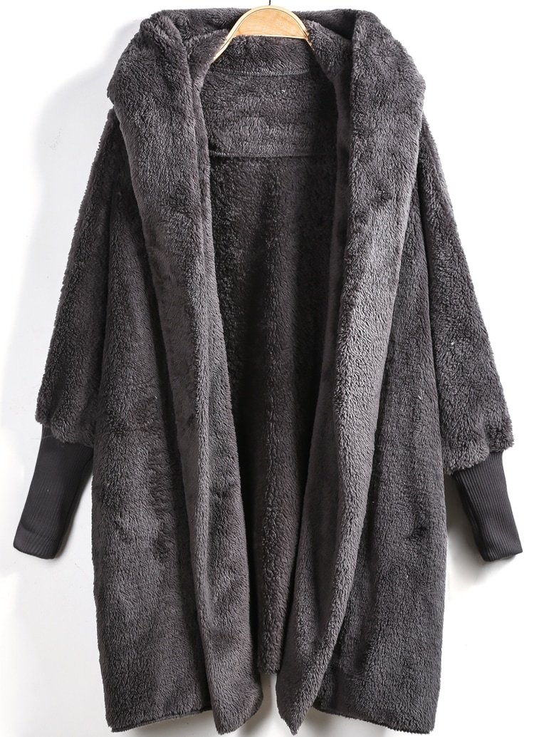 Grey Hooded Long Sleeve Loose Cardigan -SheIn(Sheinside)