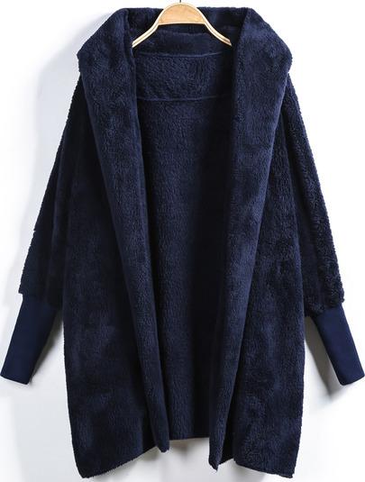 Blue Hooded Long Sleeve Loose Cardigan -SheIn(Sheinside)