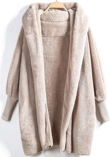 Apricot Hooded Long Sleeve Loose Cardigan