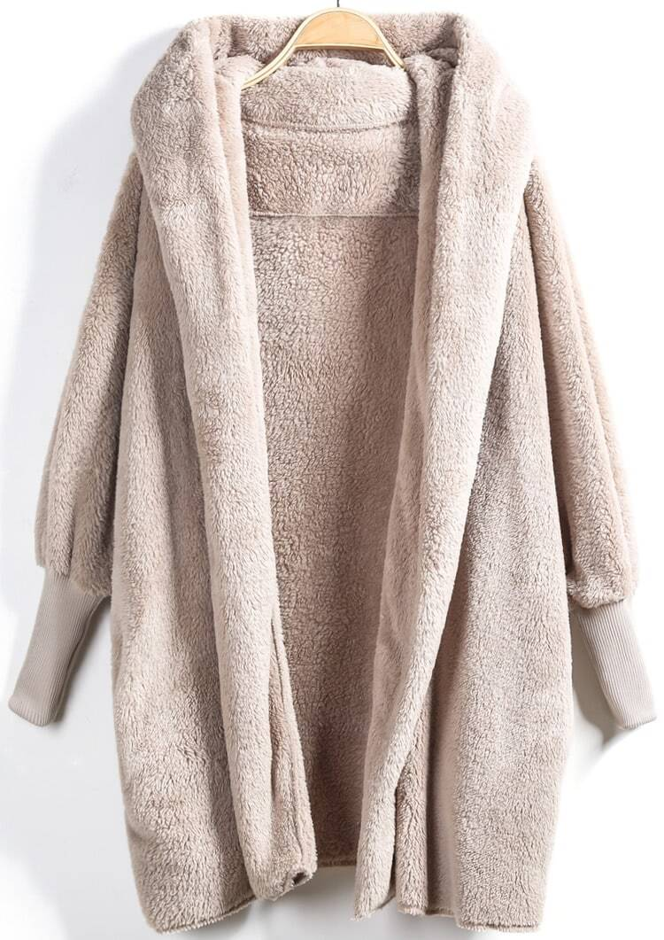 Image of Apricot Hooded Long Sleeve Loose Cardigan