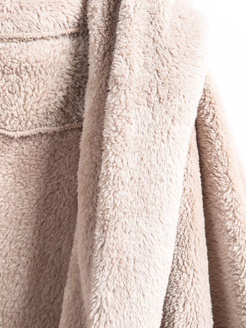 Apricot Hooded Long Sleeve Loose Cardigan -SheIn(Sheinside)