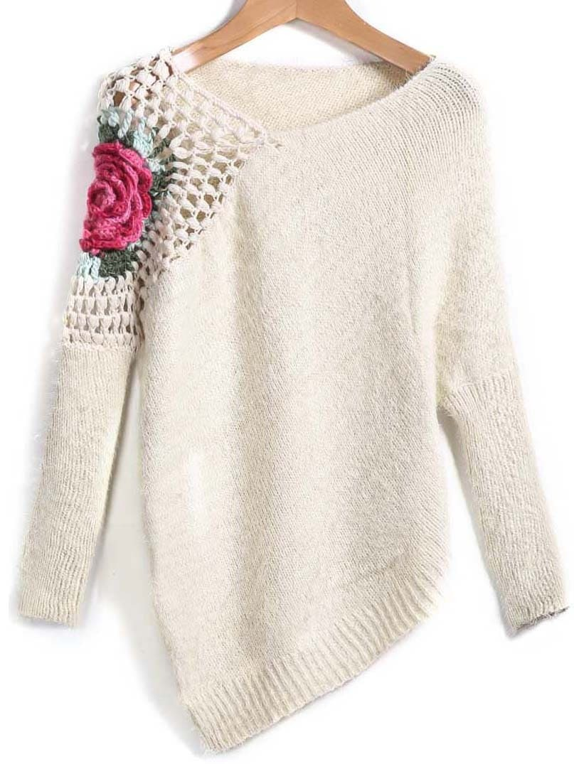Apricot Round Neck Floral Crochet Loose Sweater -SheIn(Sheinside)