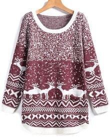 Wine Red Round Neck Deer Print Pockets Sweater