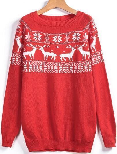 Red Round Neck Deer Print Tassel Sweater
