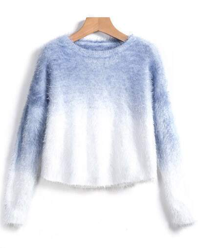 Blue Ombre Long Sleeve Crop Sweater