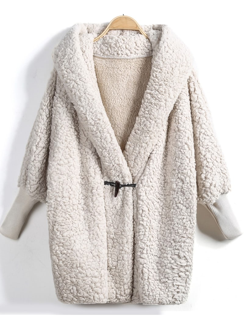 Image of Apricot Hooded Batwing Long Sleeve Loose Coat