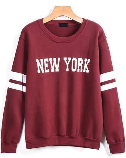 Red Long Sleeve NEW YORK Print Sweatshirt