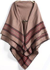 Khaki Horn Button Striped Scarve