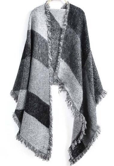 Grey Striped Fringe Scarve