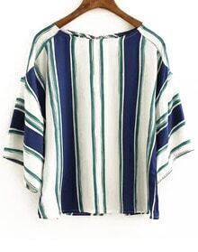 Blue White Vertical Stripe Loose Blouse