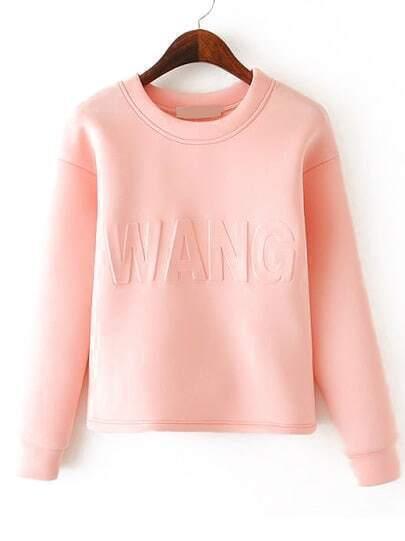 Pink Long Sleeve WANG Pattern Crop Sweatshirt
