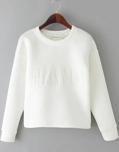 White Long Sleeve WANG Pattern Crop Sweatshirt