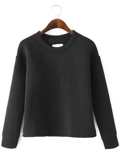 Black Long Sleeve WANG Pattern Crop Sweatshirt
