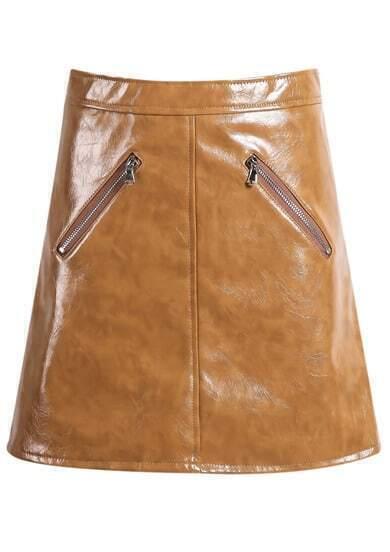 Khaki Zip A Line PU Skirt